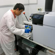 A researcher uses the Agilent 7900 Inductively-Coupled Plasma Mass-Spectrometer